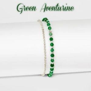 Jewelry - Silver plated genuine aventurine & pave bracelet